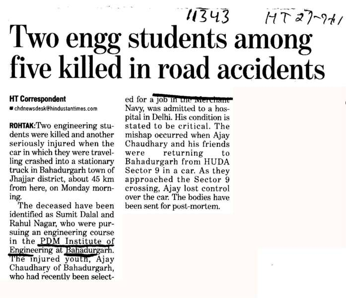 Two Engg Students among five killed in road accidents (PDM College of Engineering)