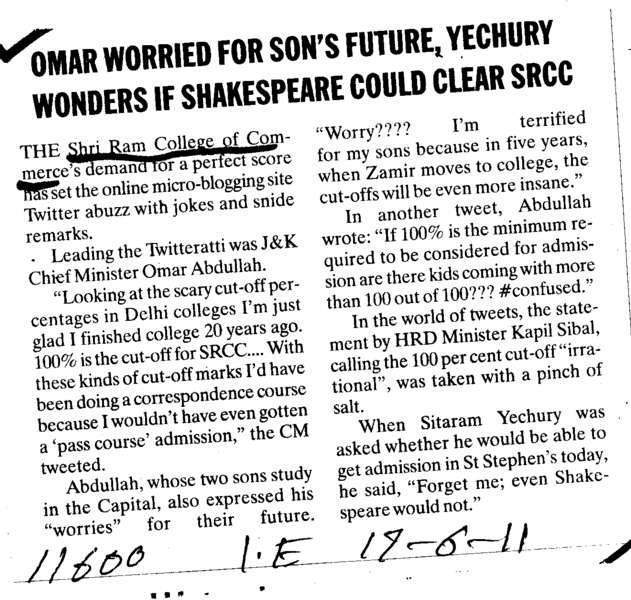 Omar worried for sons future (Shri Ram College of Commerce)