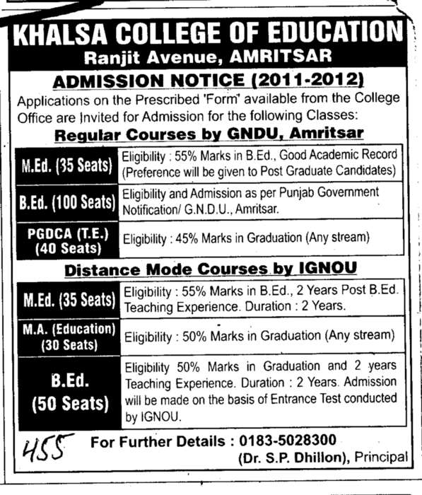 Regular Courses (Khalsa College)