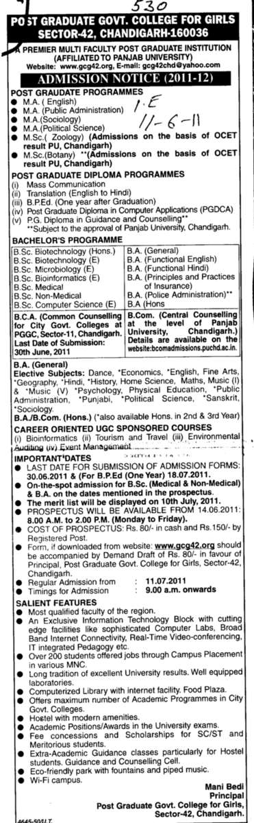 PG Diploma Courses (PG Government College for Girls (GCG Sector 42))