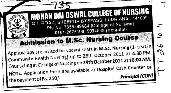 MSc Nursing Course (Mohan Dai Oswal College of Nursing)