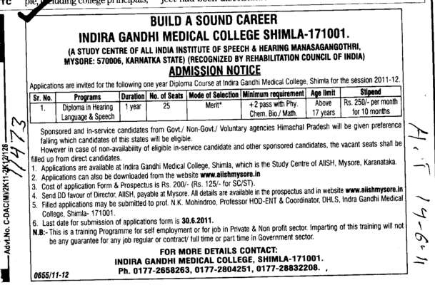 Build a Sound Career (Indira Gandhi Medical College (IGMC))