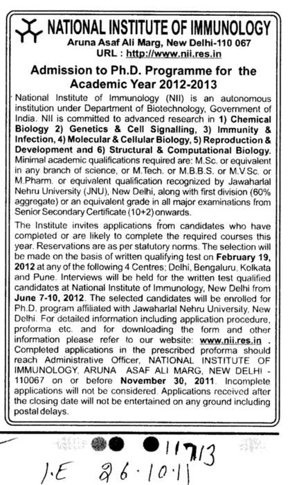 Ph D Programme (National Institute of Immunology (NII Delhi))