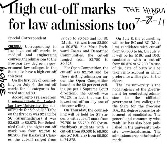 High cut off marks for law admission too (Tamilnadu Dr Ambedkar Law University (TDALU))