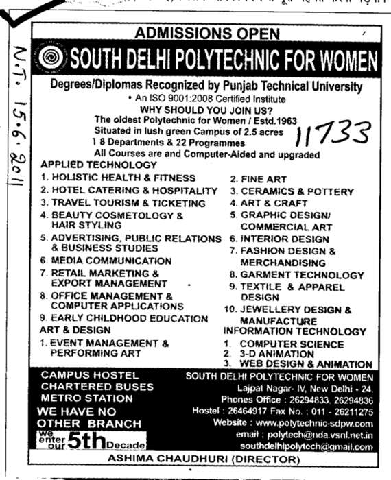 All Courses (South Delhi Polytechnic for Women)
