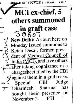 MCI ex chief 5 other summoned in graft case (Medical Council of India (MCI))