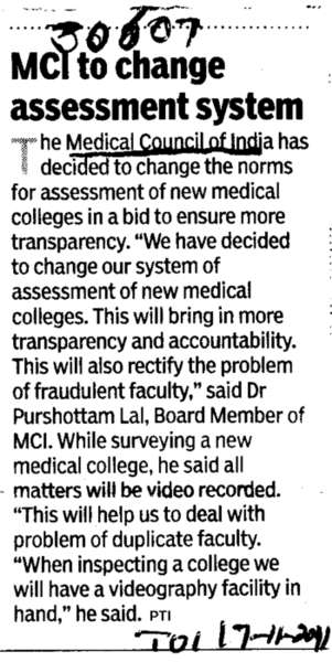 MCI to change assessment system (Medical Council of India (MCI))