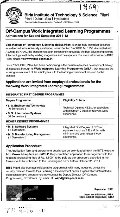 Degree Courses (Birla Institute of Technology and Science (BITS))