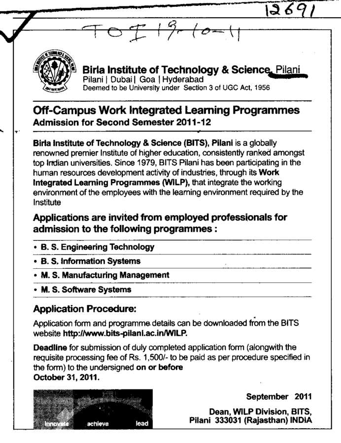 B S Information System (Birla Institute of Technology and Science (BITS))