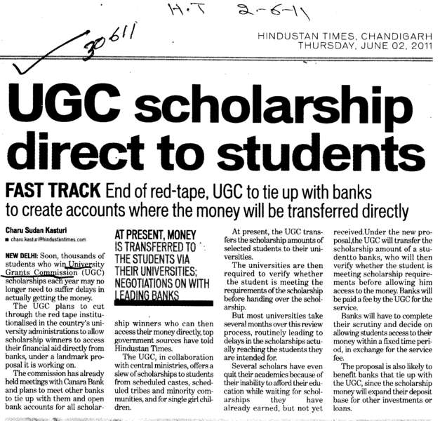 UGC Scholarship direct to students (University Grants Commission (UGC))