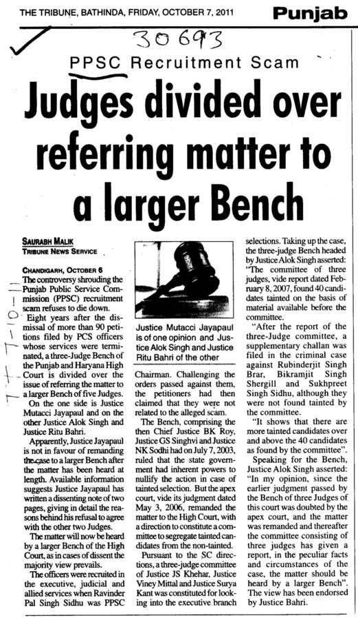 Judges divided over referring matter to a larger Bench (Punjab Public Service Commission (PPSC))