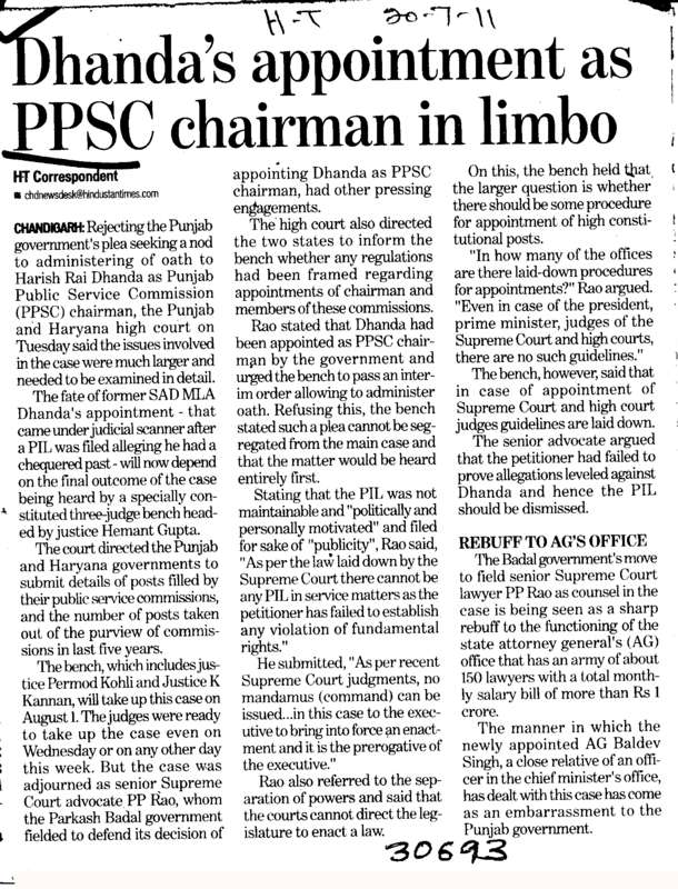 Dhandas appointment as PPSC Chairman in limbo (Punjab Public Service Commission (PPSC))