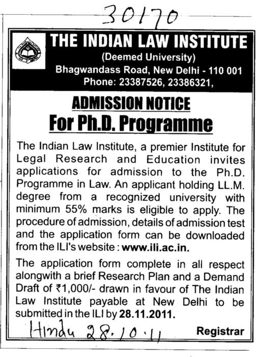 PH D Programme (Indian Law Institute)