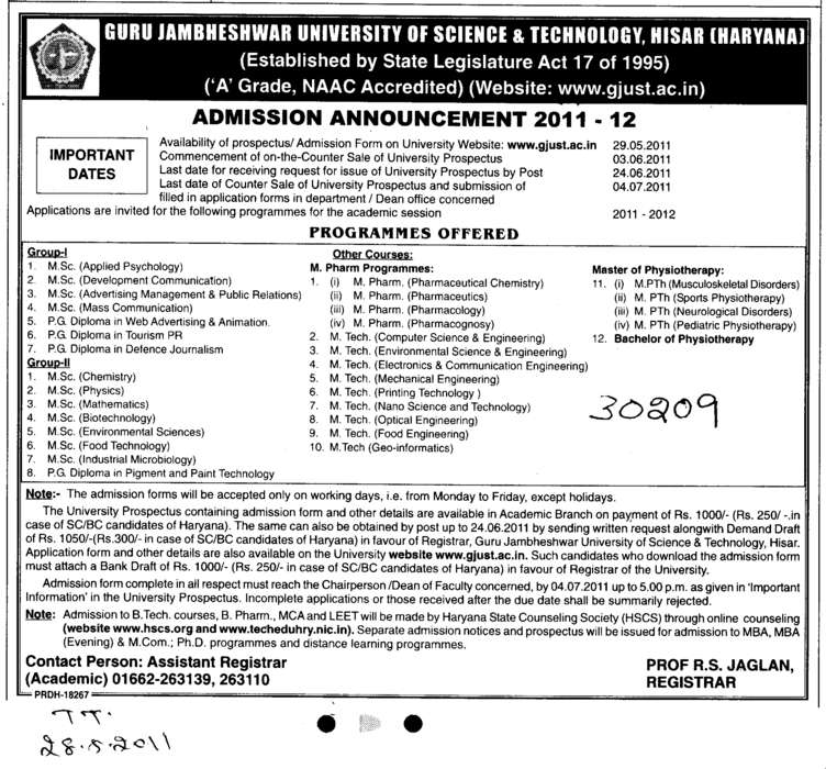 Programme Offered (Guru Jambheshwar University of Science and Technology (GJUST))