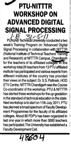 Nitter Workshop on advanced Digital Signal Processing (NITTTR)