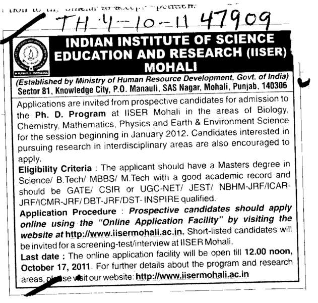 Ph D Programme (Indian Institute of Science Education and Research (IISER))