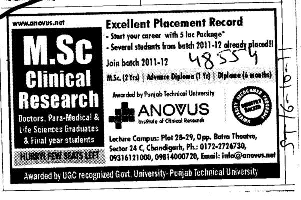 M Sc Clinical Research (Anovus Institute of Clinical Research)