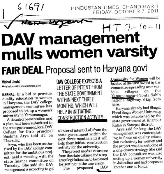 DAV Management mulls women varsity (DAV University for Women)