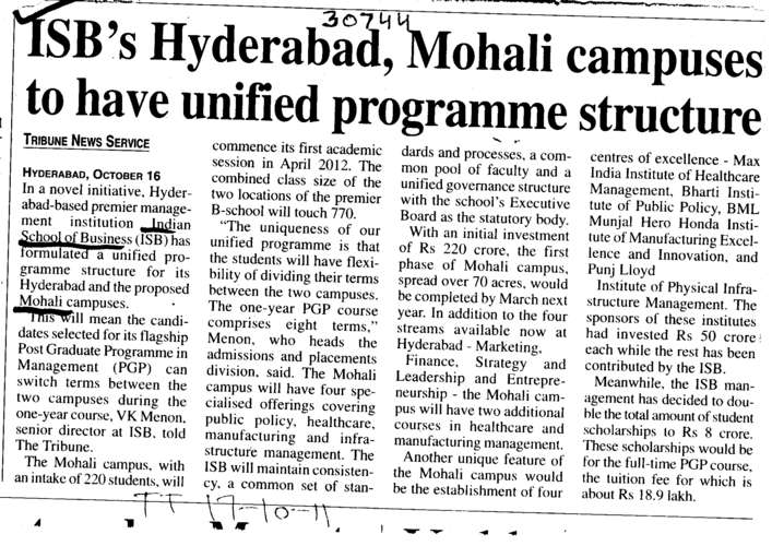 ISBs Hyderabad Mohali campuses to have unified programme structure (Indian School of Business Chandigarh Mohali Campus)
