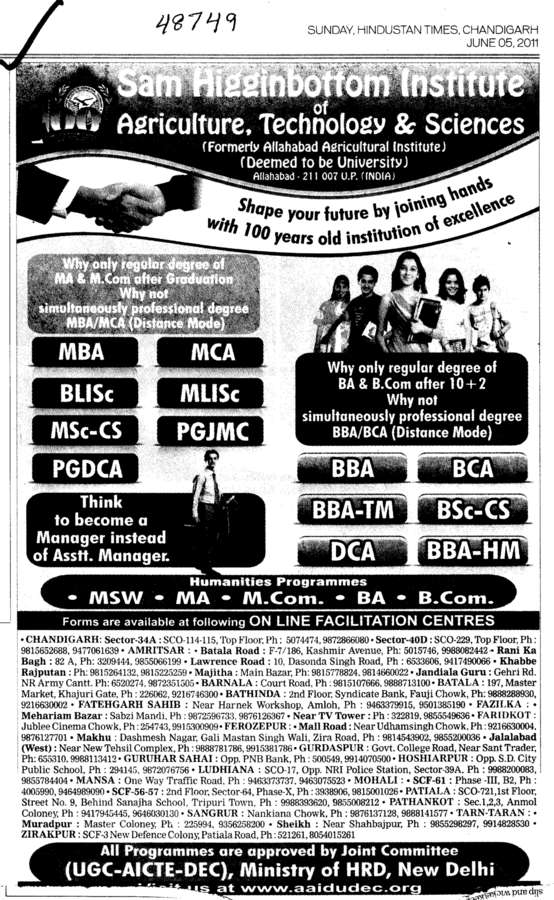 BLISc MBA and MCA etc (Sam Higginbottom Institute of Agriculture Technology & Science SHIATS)