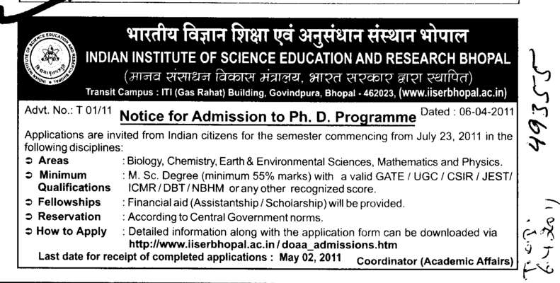 Biology Chemistry and Earth and Environment Science (Indian Institute of Science Education and Research (IISER))