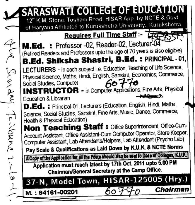 M Ed Professors Reader and Lecturer (Sarswati College of Education)