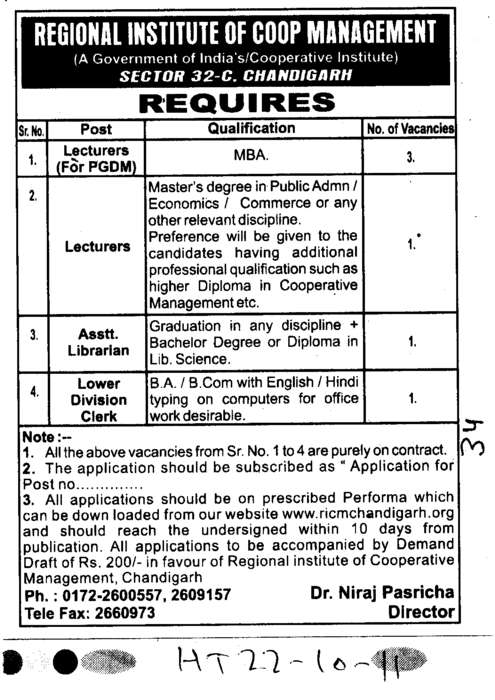 Lecturers Assistant Professors and Lower Division Clerk (Regional Institute of Cooperative Management)