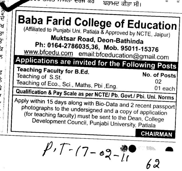 Teaching Faculty For B Ed (Baba Farid College of Education Deon)