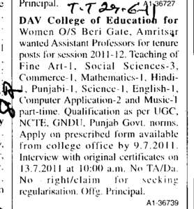 Assistant Professors (DAV College of Education for Women)