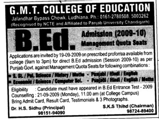 BEd admission and Management quota seats (GMT College of Education)