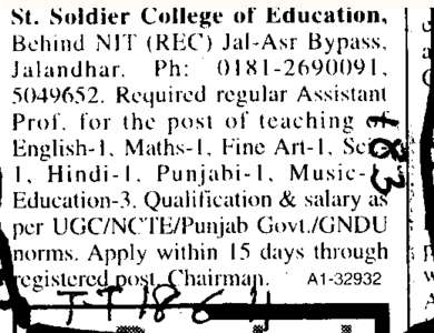 Teaching of Punjabi Hindi and English (St Soldier College of Education)