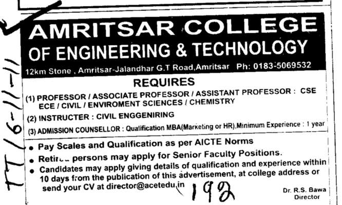 Professors Assistant Professors and Associate Professors (Amritsar College of Engineering and Technology ACET Manawala)