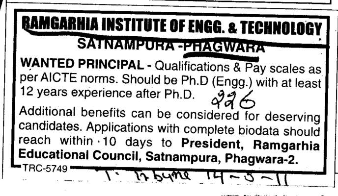 Wanted Principal (Ramgarhia Institute of Engineering and Technology RIET)