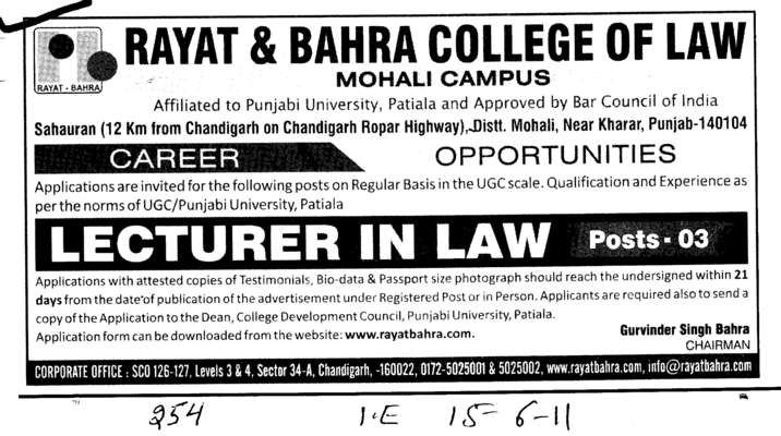 Lecturer in Law (Rayat and Bahra College of Law)
