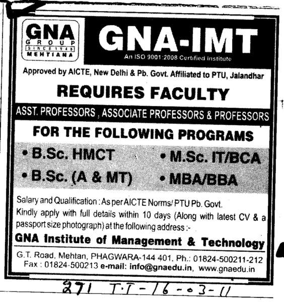 Professors Assistant Professors and Associate Professors (GNA Institute of Management and Technology)