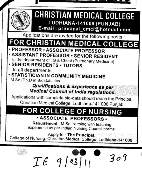 Professors Assistant Professors and Associate Professors (Christian Medical College and Hospital (CMC))