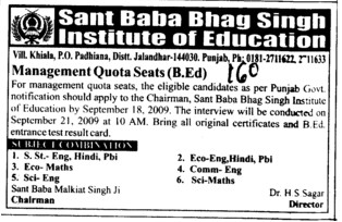 Management quota seats for BEd (Sant Baba Bhag Singh Institute of Education)