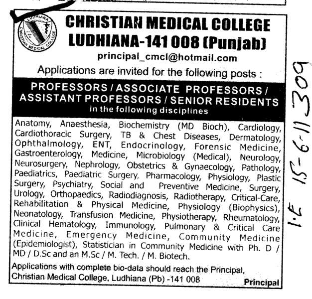 Professors Assistant Professors and Associate Professors Senior Resident (Christian Medical College and Hospital (CMC))