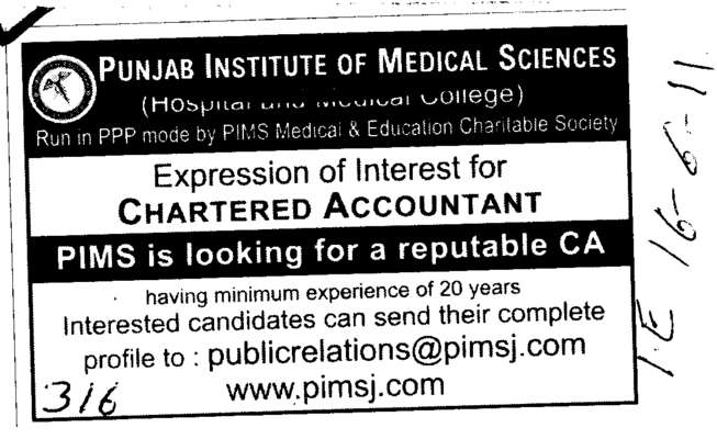 Chartered Accountant (Punjab Institute of Medical Sciences (PIMS))