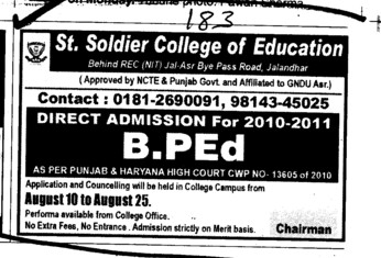 Direct admission in BEd (St Soldier College of Education)