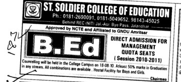 Direct admission in BPEd (St Soldier College of Education)