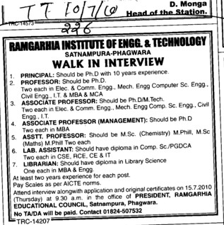 Principal Proffesor and Lecturers etc (Ramgarhia Institute of Engineering and Technology RIET)