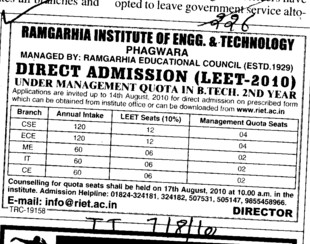 Direct Admission and Management quota seats for BTech (Ramgarhia Institute of Engineering and Technology RIET)