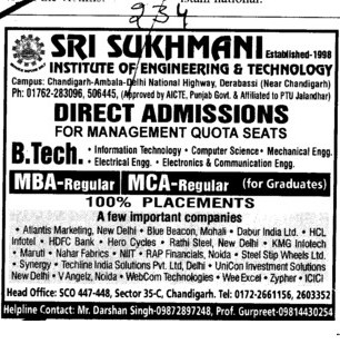 BTech MBA and MCA (Sri Sukhmani Institute of Engineering and Technology)