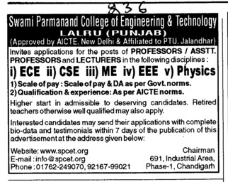 Proffesor Assistant Proffesor and Lecturers for BTech (Swami Parmanand College of Engineering and Technology (SPCET))