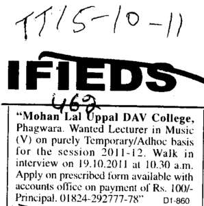 Lecturer in Music (Mohan Lal Uppal DAV College)