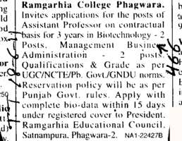 Assistant Professors in Biotechnology (Ramgarhia College)
