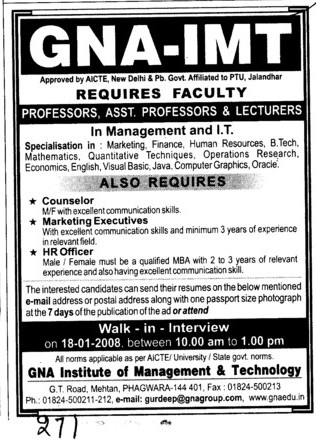 Proffessors Assistant Proffessors and Associate Proffessors (GNA Institute of Management and Technology)