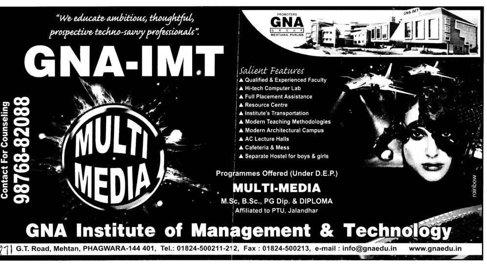 MSc BSc and PG Diploma etc (GNA Institute of Management and Technology)