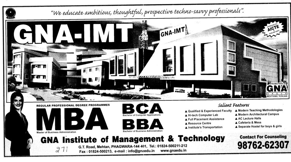 MBA BCA and BBA etc (GNA Institute of Management and Technology)